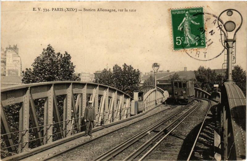 Carte postale ancienne Station Allemagne, sur la voie à Paris 19e