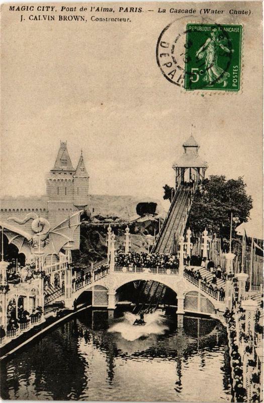 Carte postale ancienne Magic City - Pont de l'Alma - La Cascade à Paris 7e