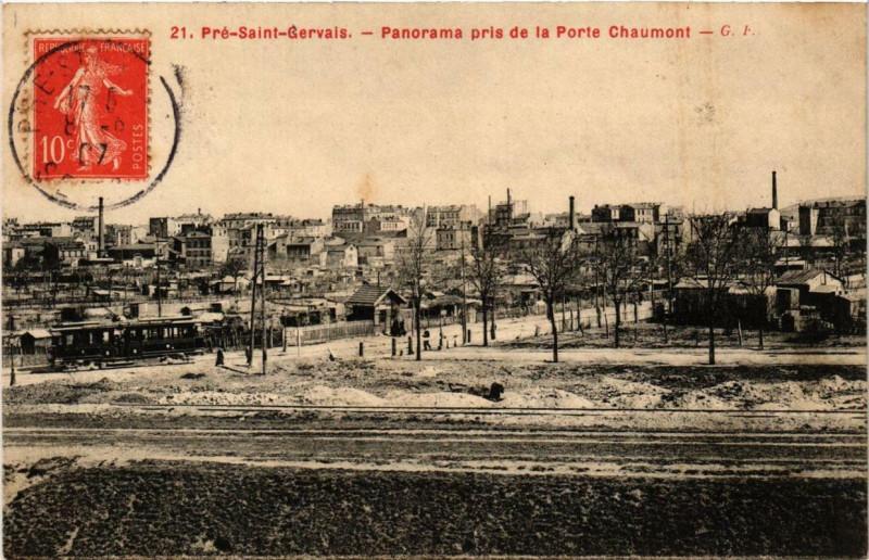 Carte postale ancienne Panorama pris de la Porte Chaumont à Paris 19e