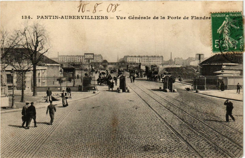 Carte postale ancienne Vue Générale de la Porte de Flandre à Paris 19e