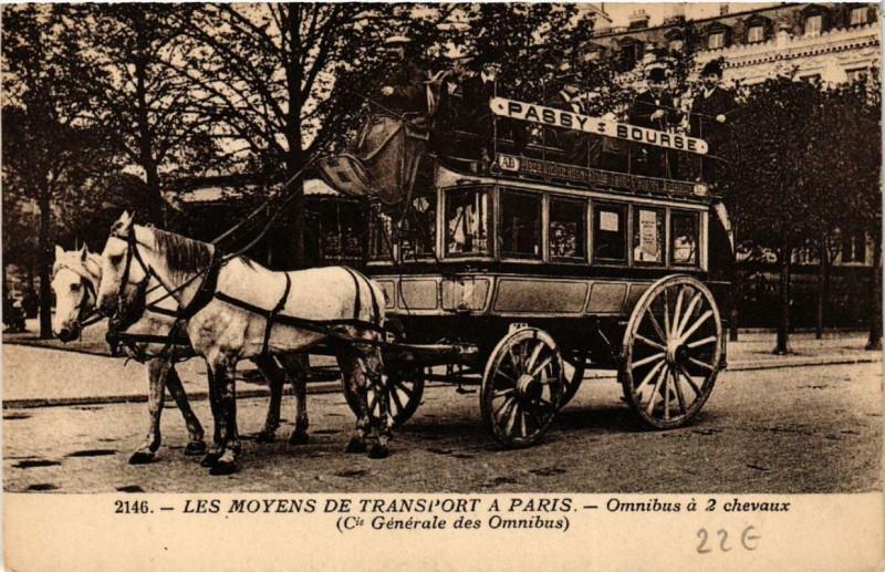 Carte postale ancienne Les Moyens de Transport à Paris - Omnibus à 2 chevaux - Compagnie Générale des Omnibus à Paris