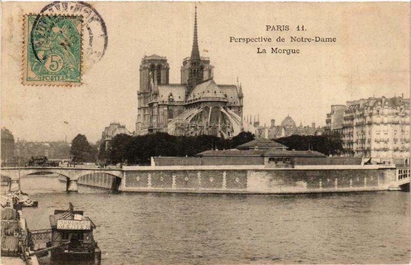 Carte postale ancienne Perspective de Notre-Dame - La Morgue à Paris 5e