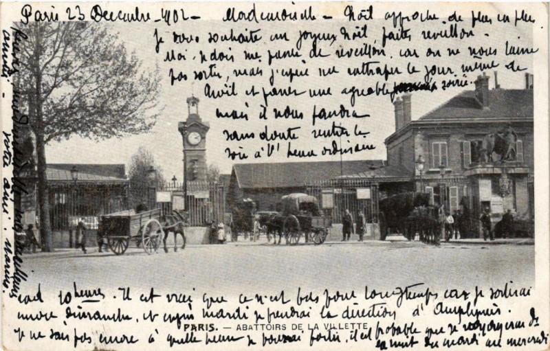 Carte postale ancienne Abattoirs de la Villette à Paris 19e