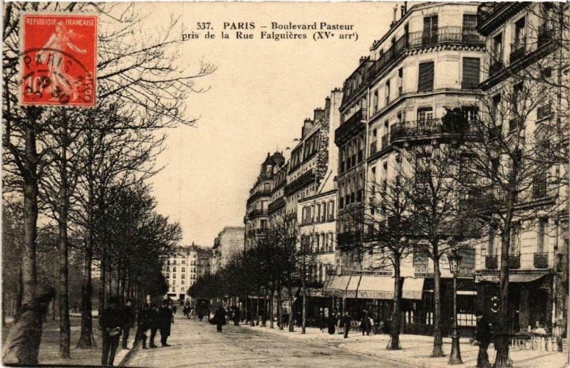 Carte postale ancienne Boulevard Pasteur pris de la Rue Falguières à Paris 15e