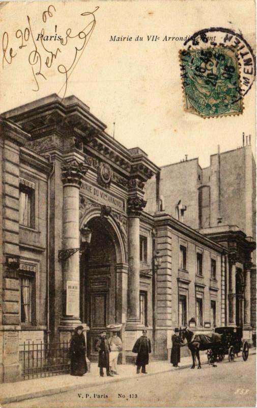 Carte postale ancienne Mairie du VIIe Arrondissement à Paris 7e