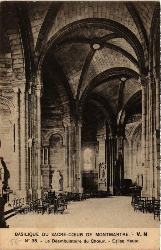Carte postale ancienne Basilique du Sacré-Coeur de Montmartre - Le Déambulatoire du Choeur - Eglise Haute à Paris 18e