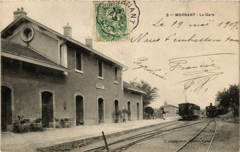 Carte postale ancienne Mornant - La Gare à Mornant