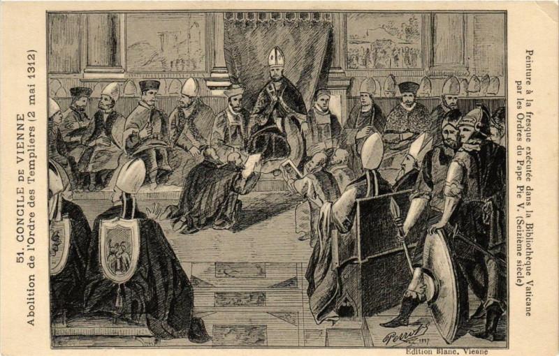 Carte postale ancienne Concile de Vienne - Fresque exécutée dans la Bibliothéque Vaticane à Vienne