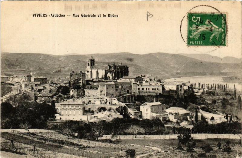 Carte postale ancienne Viviers Vue générale et le Rhone à Viviers