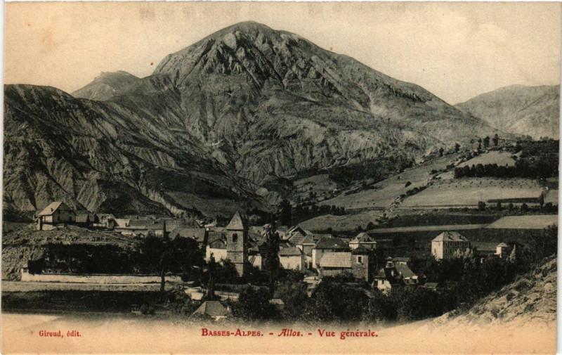 Carte postale ancienne Allos Vue générale à Allos