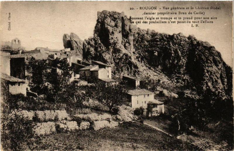 Carte postale ancienne Rougon Vue générale et le Chateau feodal à Rougon