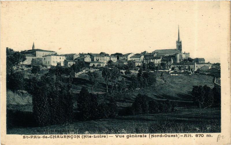 Carte postale ancienne Saint-Pal-de-Chalencon - Vue gennerale (Nord-Ouest) alt 870 à Saint-Pal-de-Chalencon