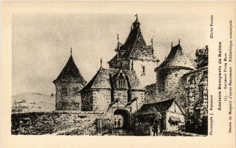 Carte postale ancienne Anciens Remparts de Reims Ancienne Porte Mars Dessin de Maquart à Reims