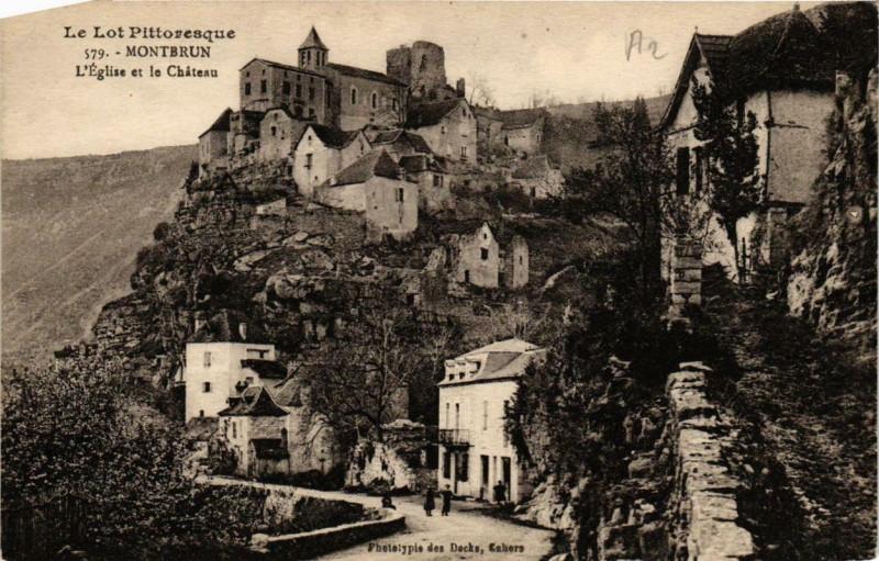 Carte postale ancienne Montbrun L'Eglise et le Chateau à Montbrun