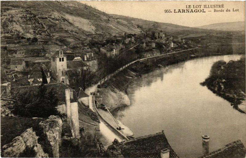 Carte postale ancienne Larnagol - Bords du Lot à Larnagol