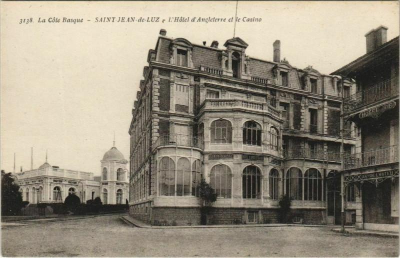 Carte postale ancienne St Jean de Luz Hotel Angleterre et le Casino France à Anglet
