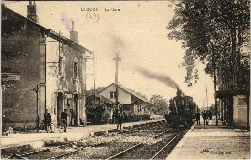 Carte postale ancienne Cuzorn La Gare Locomotive à Cuzorn