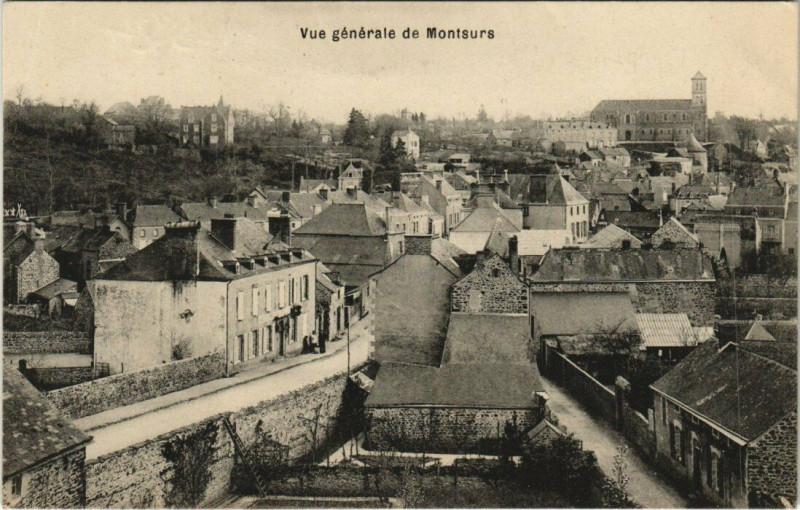 Carte postale ancienne Vue generale de Montsurs à Montsûrs