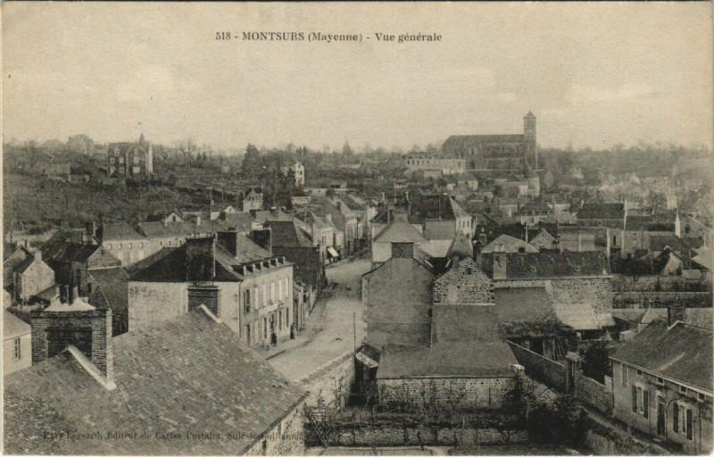 Carte postale ancienne Montsurs - Vue generale à Montsûrs