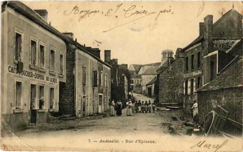 Carte postale ancienne Andouillé-Rue d'Epineux à Andouillé