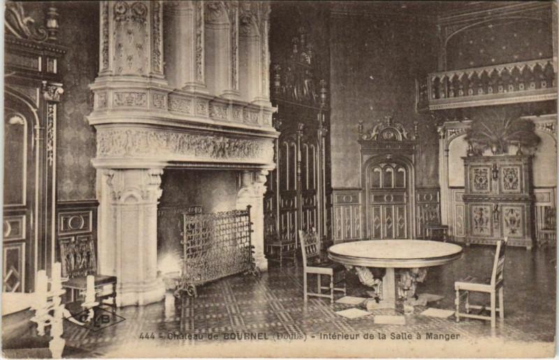 Carte postale ancienne Cubry Chateau de Bournel - Interieur de la Salle a Manger à Cubry