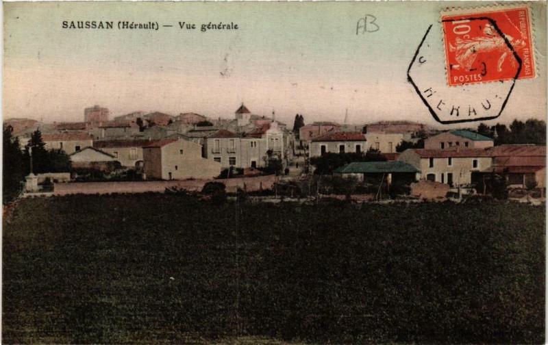 Carte postale ancienne Saussan Vue générale à Saussan