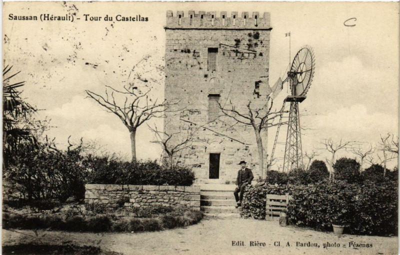 Carte postale ancienne Saussan Tour du Castellas à Saussan