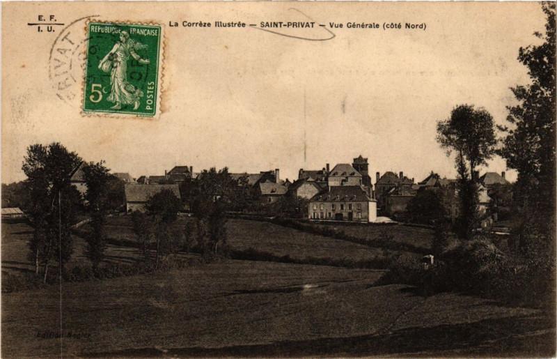 Carte postale ancienne Saint-Privat - Vue générale - Cote Nord à Saint-Privat