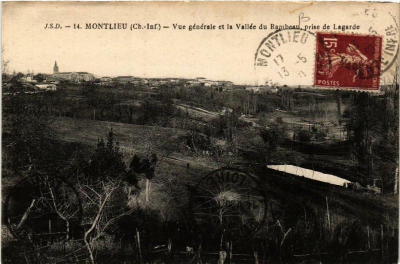Carte postale ancienne Montlieu Vue générale et la Vallée du Rambeau prise de Lagarde à La Vallée