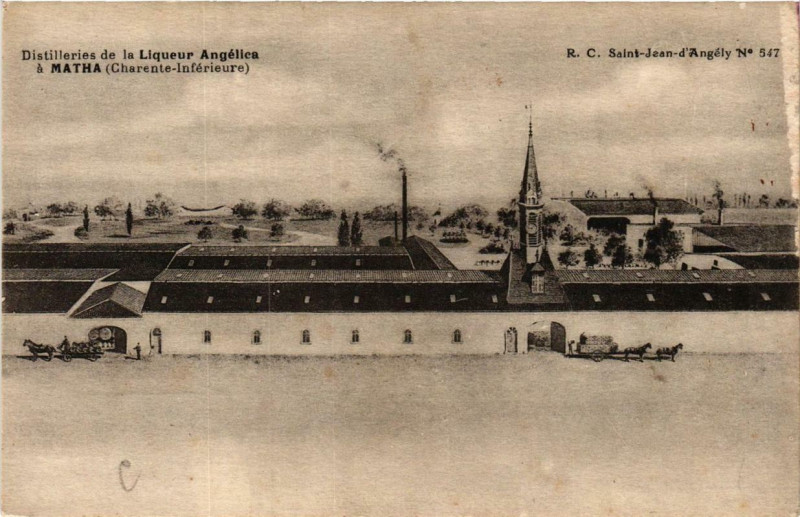 Carte postale ancienne Matha Distilleries de la Liqueur Angelica à Matha