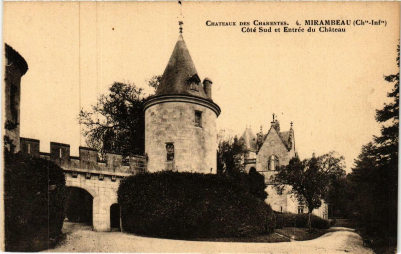 Carte postale ancienne Mirambeau Cote Sud et Entrée du Chateau à Mirambeau
