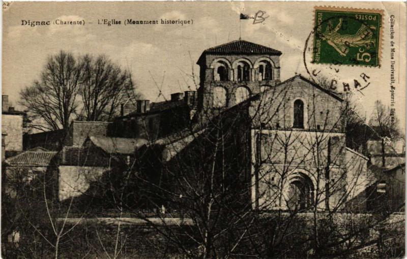 Carte postale ancienne Dignac - Eglise à Dignac