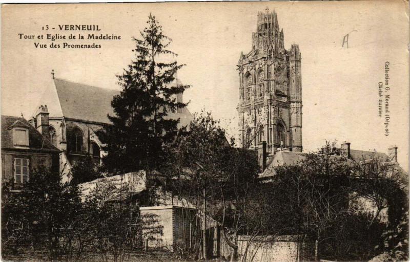 Carte postale ancienne Verneuil - Tour et Eglise de la Madeleine - Vue des Promenades à Verneuil