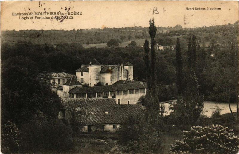 Carte postale ancienne Env. de Mouthiers-sur-Boeme - Logis et Fontaine de Forues à Mouthiers-sur-Boëme