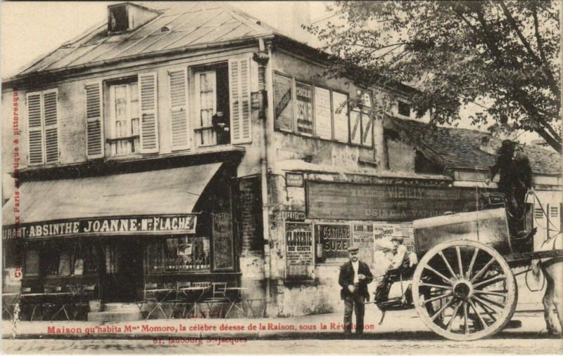 Carte postale ancienne Maison qu'habita Mme Momoro, la célèbre déesse de la Raison, sous la Révolution à Paris 14e