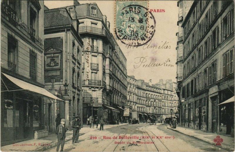Carte postale ancienne Rue de Belleville - Dépôt du Funiculaire à Paris 19e