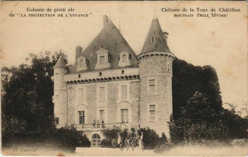 Carte postale ancienne Boussais Chateau de la Tour de Chatillon à Boussais