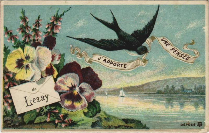 Carte postale ancienne Lezay Une Pensee j'Apporte de Lezay à Lezay