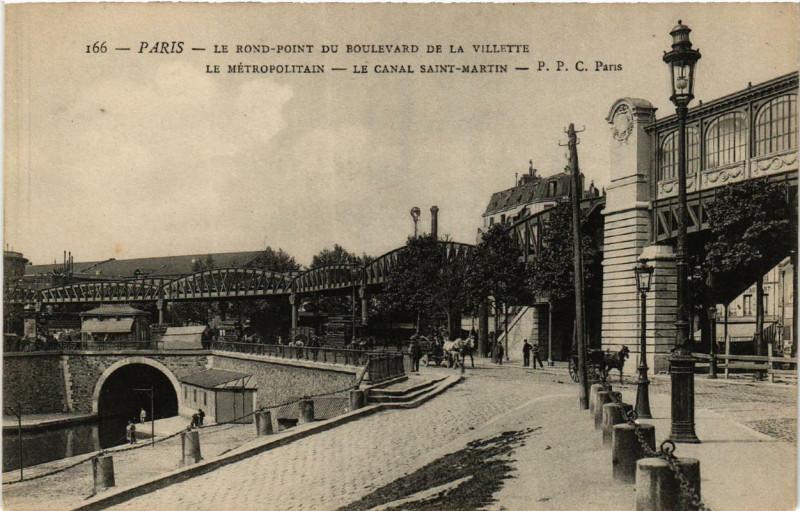 Carte postale ancienne Le rond-point du boulevard de la Villette - Le Métropolitain - Le Canal Saint-Martin à Paris 10e