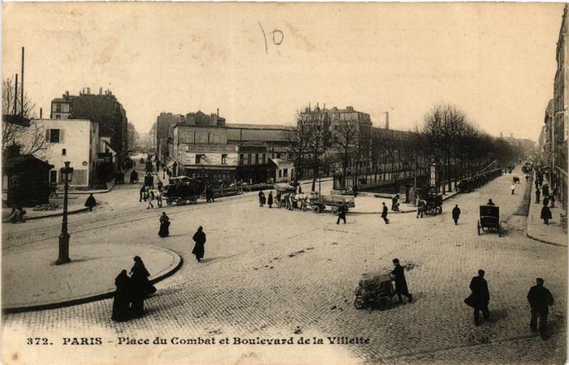 Carte postale ancienne Place du Combat et Boulevard de la Villette à Paris 19e
