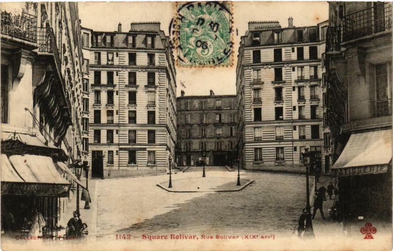 Carte postale ancienne Square Bolivar, Rue Bolivar à Paris 19e