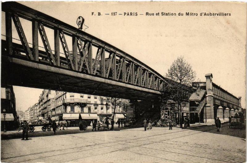 Carte postale ancienne Rue et Station du Métro d'Aubervilliers à Paris 19e