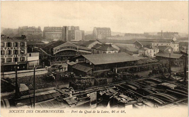 Carte postale ancienne Société des Charbonniers - Port du Quai de Loire, 46 et 48 à Paris 19e