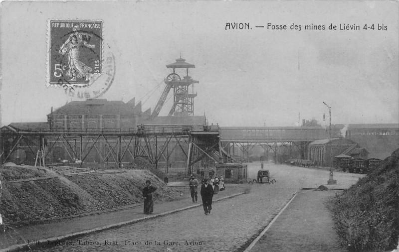 Carte postale ancienne 62 Avion Fosse Des Mines De Lievin 4-4 Bis (cpa émaillée Cliche Rare à Avion