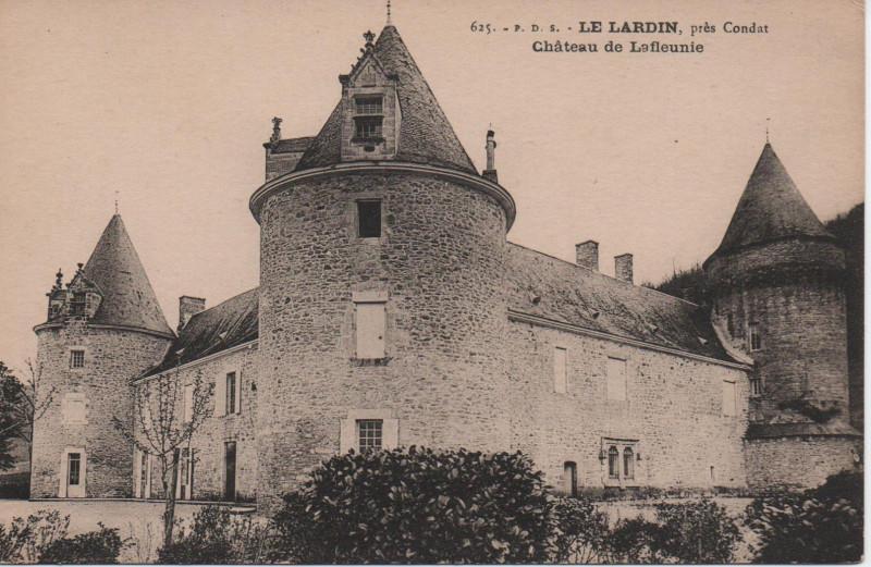 Carte postale ancienne Le Lardin, près de Condat, le château de Lafleunie à Le Lardin-Saint-Lazare