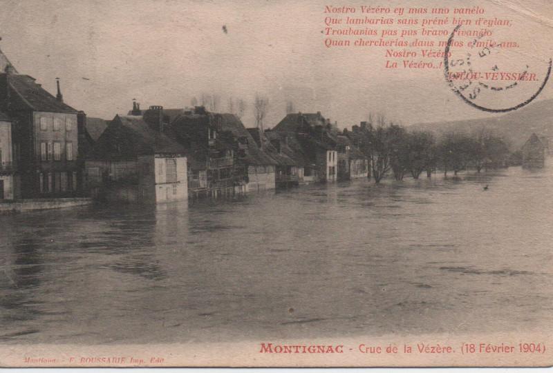 Carte postale ancienne Crue de la Vézère à Montignac