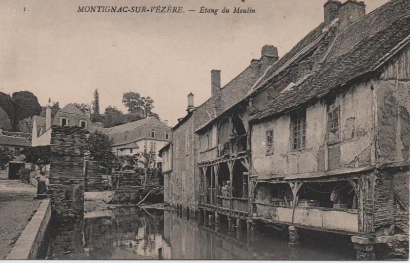 Carte postale ancienne Montignac - étang du Moulin à Montignac