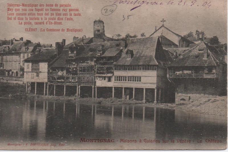 Carte postale ancienne Maisons à Galeries sur la Vézère - Le Château à Montignac