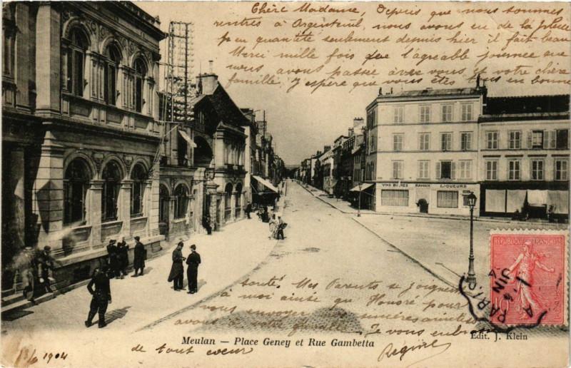 Carte postale ancienne Place Geney et Rue Gambetta à Meulan-en-Yvelines