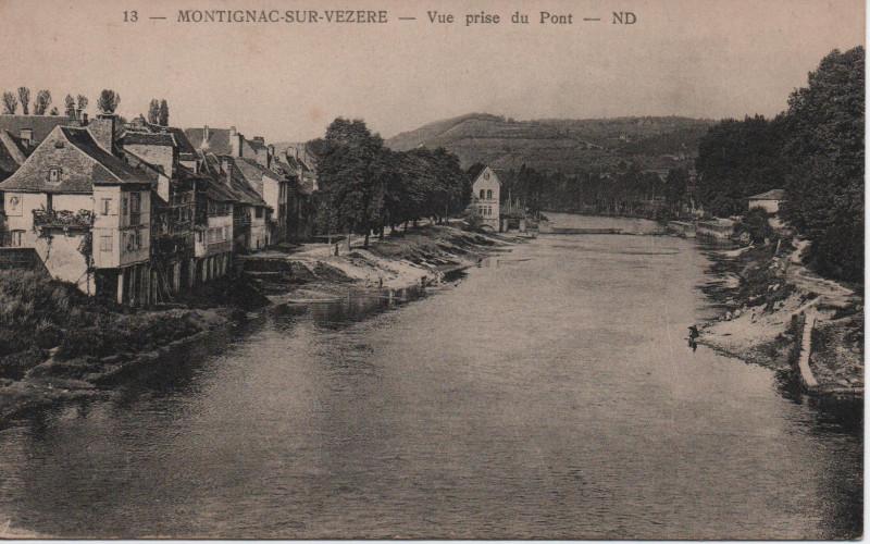 Carte postale ancienne Vue prise du pont à Montignac